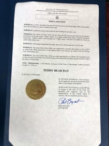 Governor Bryant Proclaims Teddy Bear Day in Mississippi